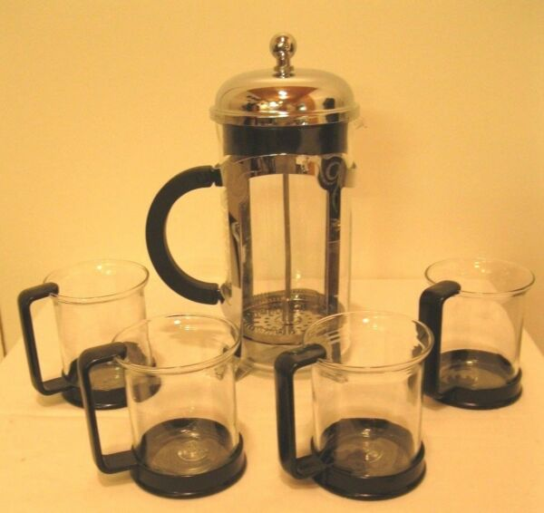 Starbucks Bodum Glass Coffee Tea French Press 8 Cups  with 4 cups
