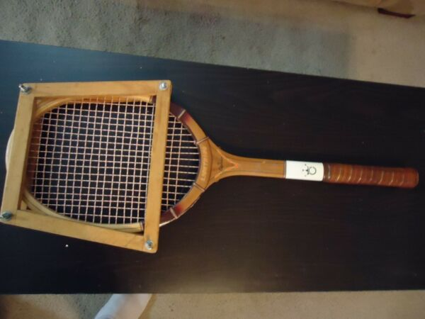 WOODEN LIGHTNING TENNIS RACQUET BY CAPRICO ENGLAND LEATHER HANDLE HIGH FREQUENCY
