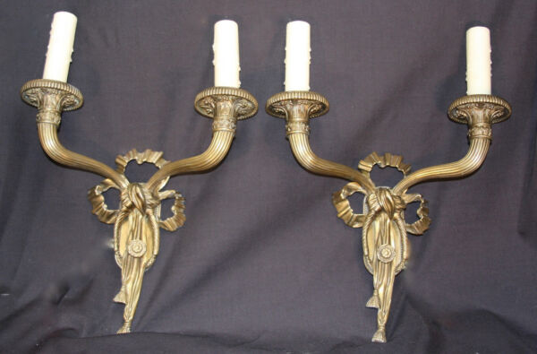 Pair of Vintage Caldwell French Ribbon and Tassel 2-Arm Bronze Sconces