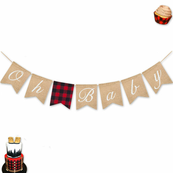 Oh Baby Burlap Banner Lumberjack Baby Shower Gender Reveal Party Decoration