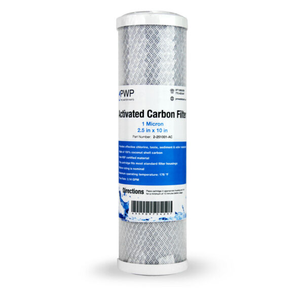 Activated Carbon Water Filter Cartridge Standard 2.5 x10quot; 5 Micron Single