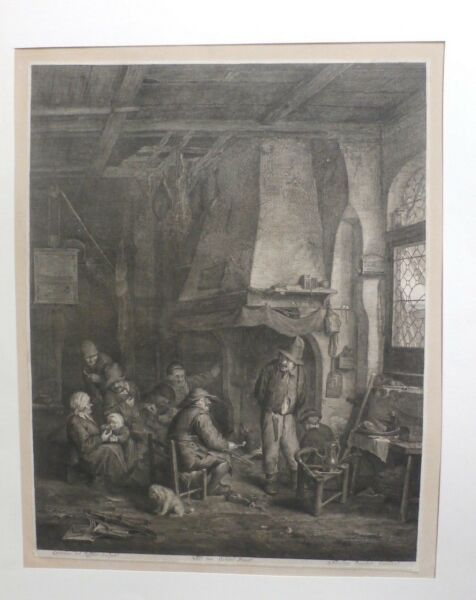 17th C. Nicolas Visscher Engraving  Etching - Villagers by the Grand Fireplace