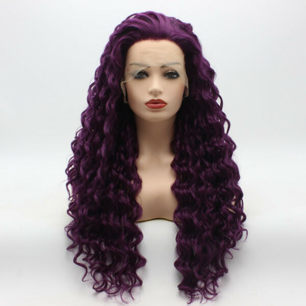 Meiyite Hair Curly Long 26inch Purple Heavy Density Synthetic Lace Front Wig