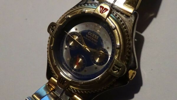 1997 Vintage Mens Guess WaterPro 3 Register 2toned watch (fits 6 34