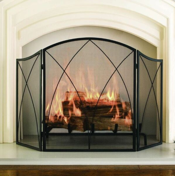 Fireplace Screen 30quot;x48quot; 3 Panel Black Steel Mesh Victorian Gothic Accent Decor