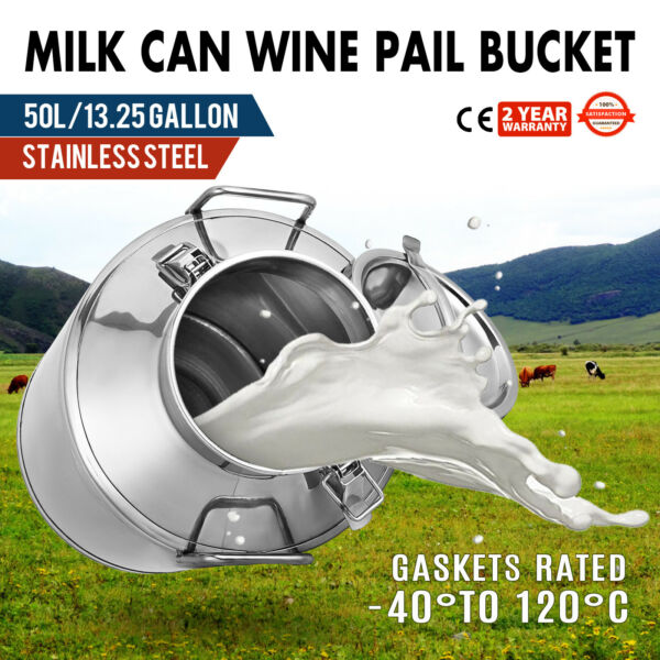 50L 13.25 Gallon Stainless Steel Milk Can Tank Barrel Heavy Gauge Wine Pail