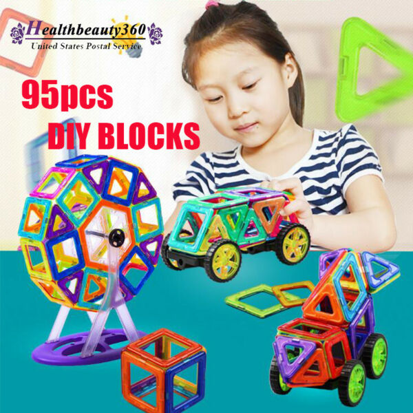 95Pcs Colorful Magical Magnet Building Blocks Educational Toys Set For Kids Gift
