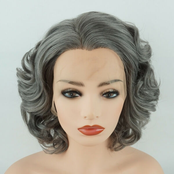 Meiyite Hair Wavy Short 10inch Grey Heavy Density Synthetic Lace Front Wig
