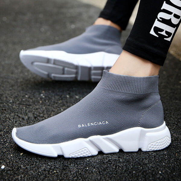 Men's High-top Socks Running Walking Shoes Breathable Jogging Sneakers High-top