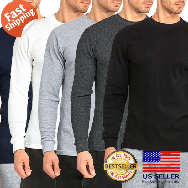 Mens 100% COTTON Medium Weight Thermal Shirts Warm Winter Long Sleeve Fit $12.95