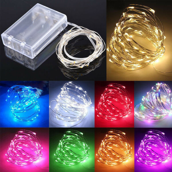 2030100 LED Battery Micro Rice Wire Copper Fairy String Lights Party whitergb