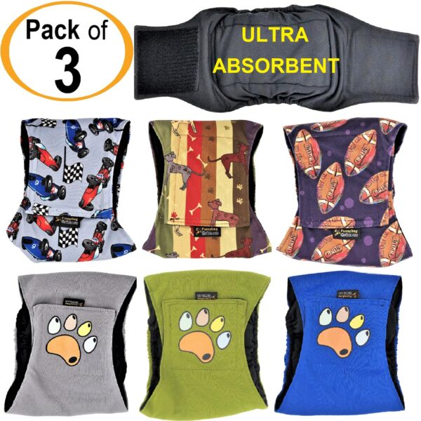 PACK of 3 Dog Diapers Male Belly Band Wrap LEAK PROOF Washable ULTRA ABSORBENT $20.99
