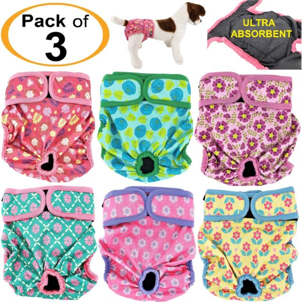 PACK of 3 Female Dog Diapers Cat LEAK PROOF Waterproof Washable Small Large Pet $23.99