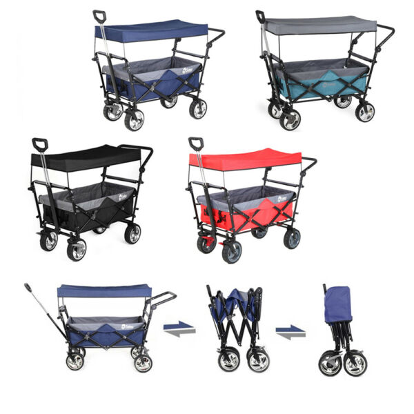 Folding Wagon w Canopy Garden Utility Travel Collapsible Cart Outdoor Camping