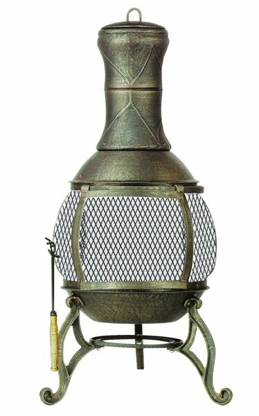 Chiminea Fireplace  Deckmate Outdoor Patio Fire Pit Wood Burning Heater Roof