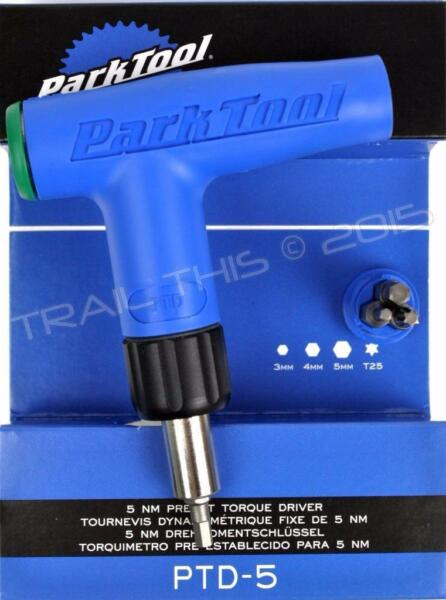 Park Tool PTD 5 Bicycle Torque Driver Wrench L Handle 5Nm Preset 4 Bits Hex T25 $41.95