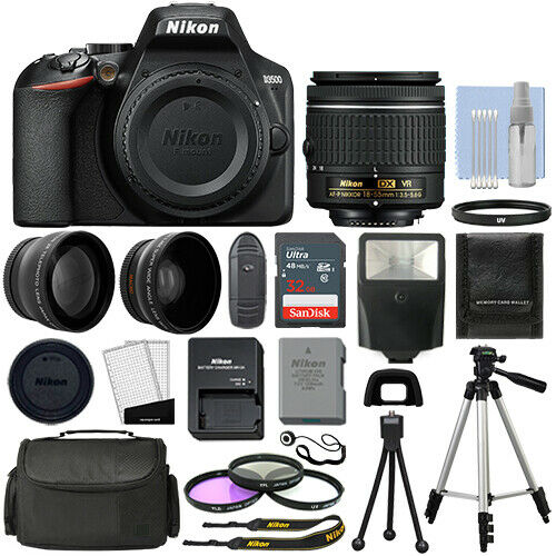 Nikon D3500 Digital SLR Camera Black 3 Lens: 18 55mm VR Lens 32GB Bundle