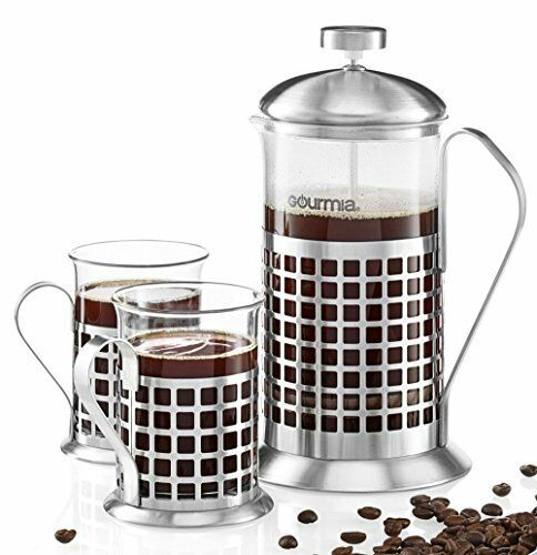 Gourmia GCM9830 Decorative French Press Coffee Maker Brewer Set 600 ml 2 Cup