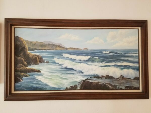 Vintage Very Large Original Painting Of Lobos Cove CA  By Artist Fay...