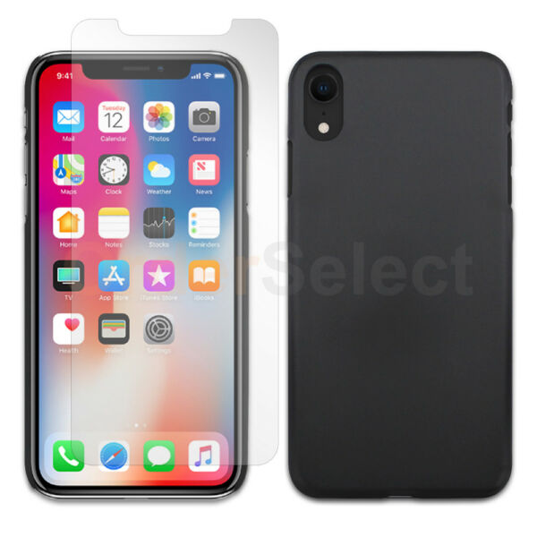 Slim Hard Plastic Cover Case+LCD Clear HD Screen Protector For Apple iPhone XR