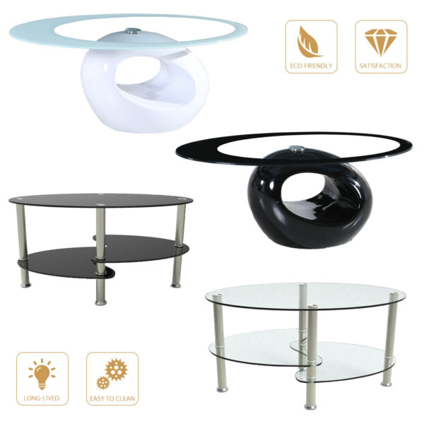 Modern Oval Glass Chrome Coffee Table Side Table wShelf Living Room Furniture