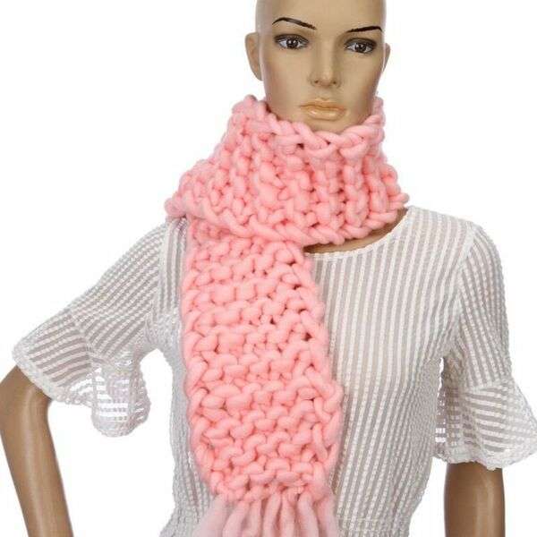 Knitted Wool Winter Scarfs Thick Solid Color For Ladies Fashion Wear Accessories
