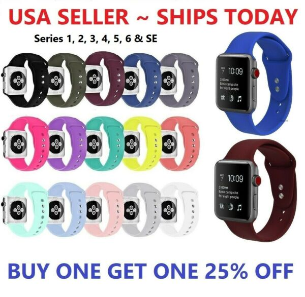 Silicone Strap Band for Apple Watch Sports Series 6 5 4 3 2 1 SE 38 40 42 44mm $5.28
