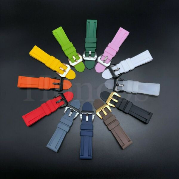 22 - 26 MM Soft Rubber Black Sport Diver Watch Band Strap Fits For Panerai Camo