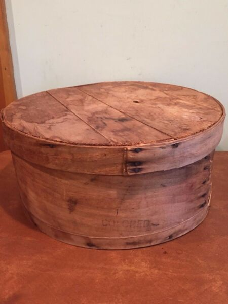 Antique Vintage Bent Wooden Pantry Cheese Box Marked