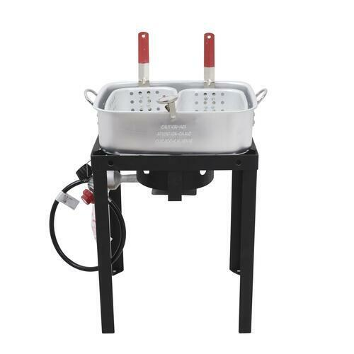 Commercial Grade Propane Gas Dual Basket Outdoor Fryer 18Qt Deep Fry Fish Wings