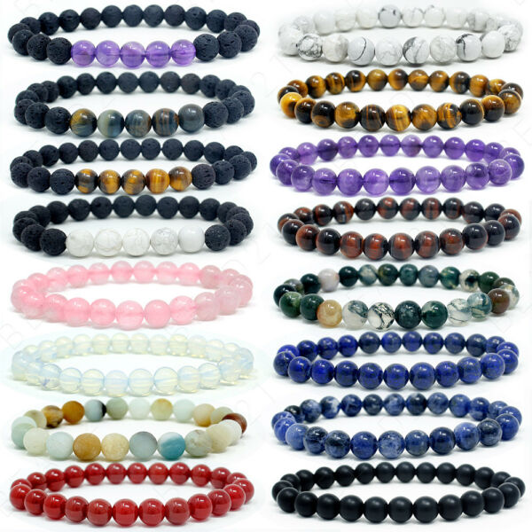 Bracelet Handmade Natural Gemstone Beads Round Stretch Healing Reiki 8mm