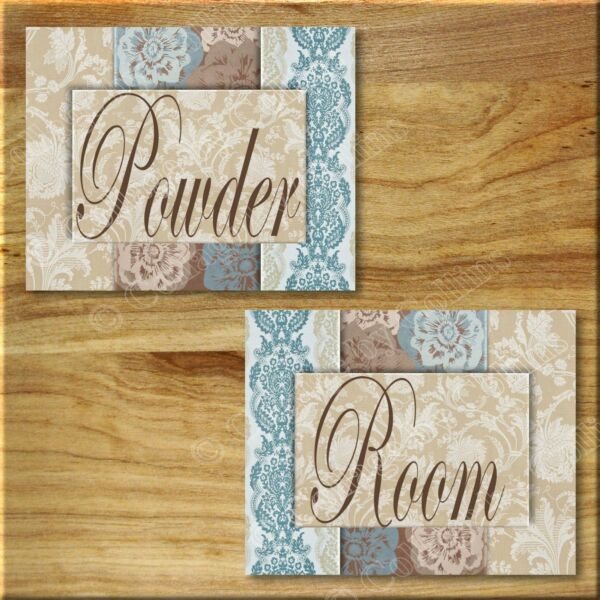 Blue Brown Damask/Floral Bathroom Wall Art Picture Prints Powder Room (2) 5x7