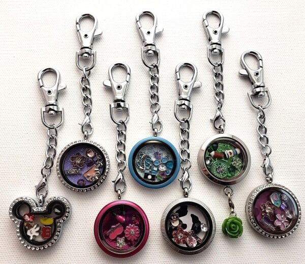 New Floating Charm Locket Key Chain Key Ring Dangle + Origami Owl Charms