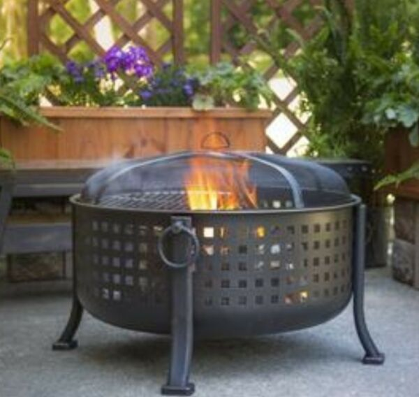 Extra Deep Round Fire Ring Outdoor Firepit Cooking Grill Grid Bronze Steel Pit