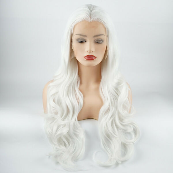 Meiyite Hair Wavy Long 26inch White Heavy Density Synthetic Lace Front Wigs