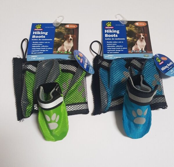 Set of 4 Top Paw Dog Hiking Boots Protector Rubber Sole Pet Walking Shoes GBP 8.99