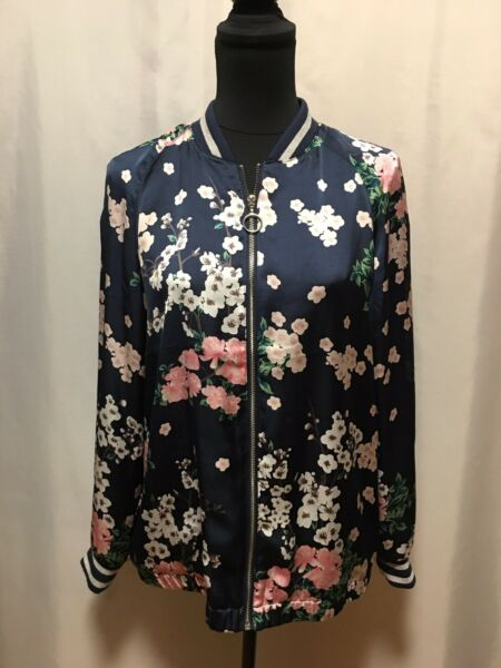 Divided Blue Lightweight Bomber With Pink Flowers Size 10