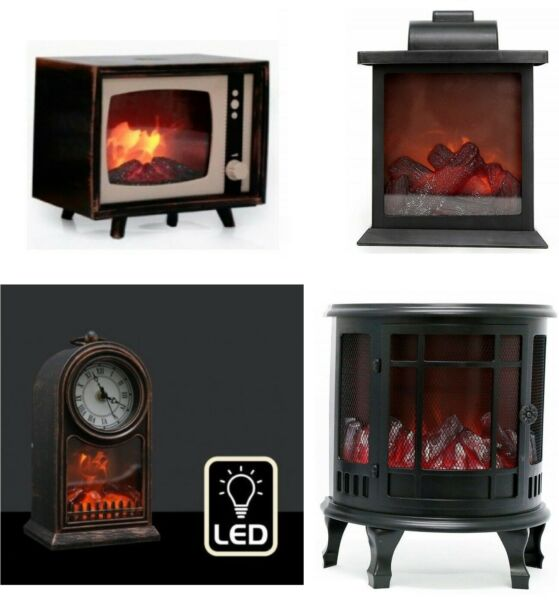 Retro Flameless Flickering LED Log Burner Fireplace Decoration Lantern Lamp Gift