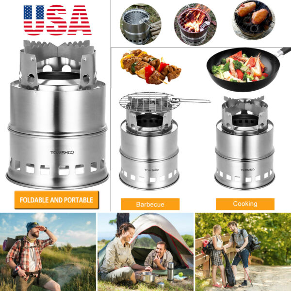 TOMSHOO Portable Picnic BBQ Wood Alcohol Stove Folding Stainless Steel Camping