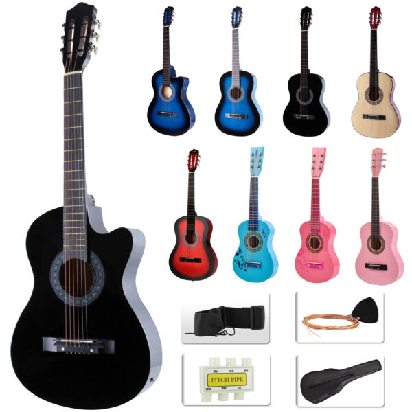 Beginners Acoustic Guitar w Guitar Case Strap Tuner&Pick Steel Nylon Strings