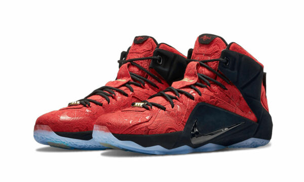 NIKE LEBRON XII 12 EXT 748861-600 University Red Black Men's Sneakers BRAND NEW