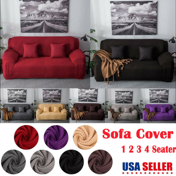 1 4 Seater Stretch Elastic Fabric Sofa Cover Slipcover Couch Covers Spandex US $24.87