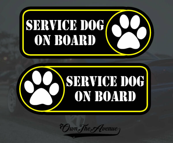 Service Dog On Board Sticker Decal 4quot; Left Right Facing Fender $3.99