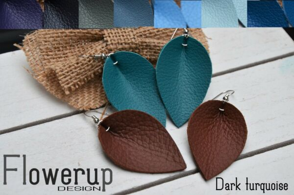 Handmade real leather leaf statement earrings set of 2 brown and shade of blue
