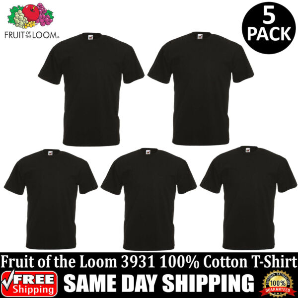 5 PACK OF FRUIT OF THE LOOM Plain Mens Black T Shirt S to XL Blank T-Shirt Tee
