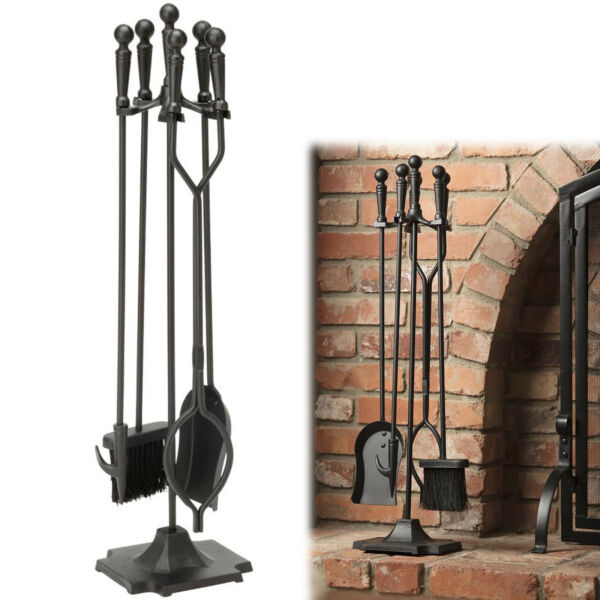 5 PIECES FIREPLACE TOOL SET Iron Fire Place Cleaning Kit Ball Handles Steel Acce