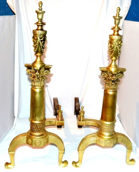 Pair Antique Ornate Federal Brass Andirons Urn Top With Cast Iron  Firedogs