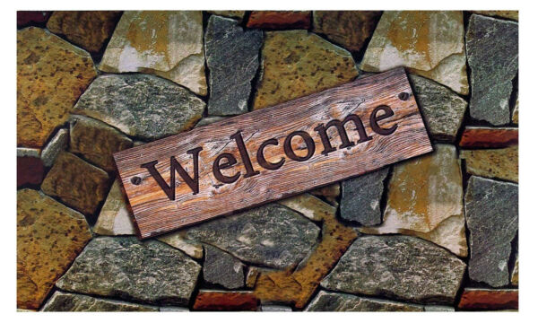 Heavy Duty Outdoor Mat Welcome Design Quarry Stone 18X30 Inches