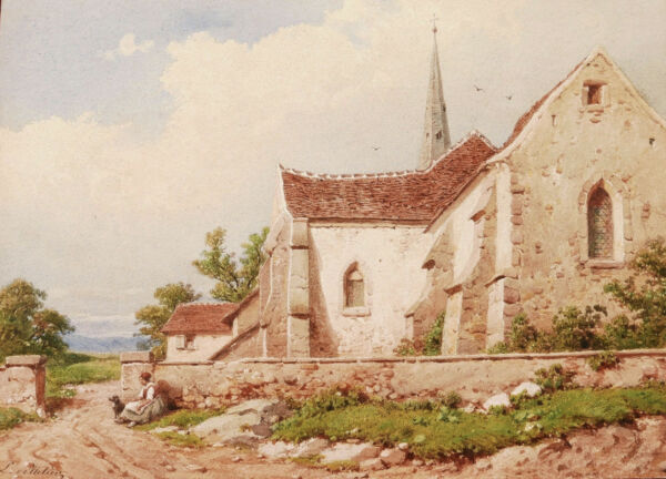 Joseph PELLETIER French watercolour drawing landscape Nice mountain church dog