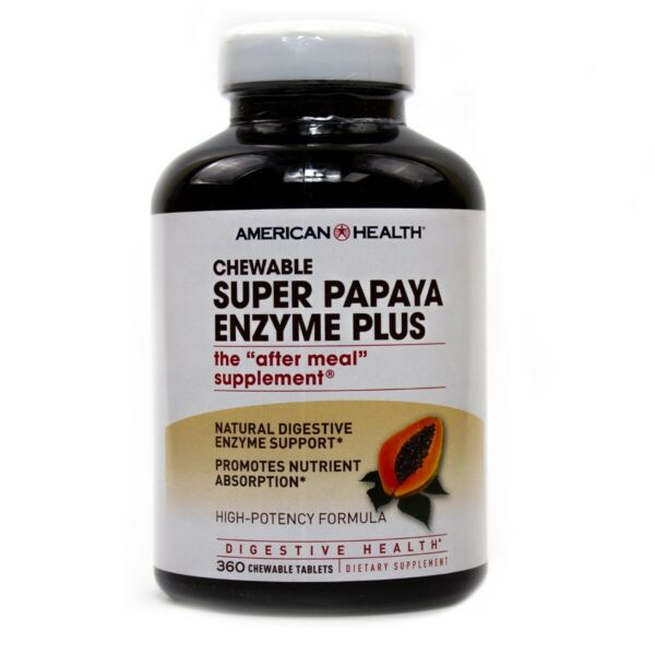 American Health Super Papaya Enzyme Plus 360 Chew Tablets FREE Shipping FRESH